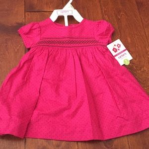 NWT Carter's baby Girl dress pink w/ brown dots 3M